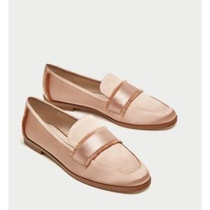 Zara Pink Satin Loafers (38)